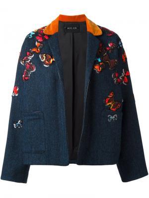 Куртка butterflies с вышивкой Michel Klein. Цвет: синий