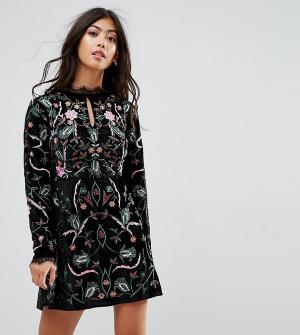 Frock and Frill Petite Бархатное премиум-платье с вышивкой. Цвет: черный