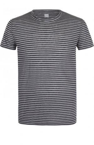 Льняная футболка в контрастную полоску 120% Lino. Цвет: серый