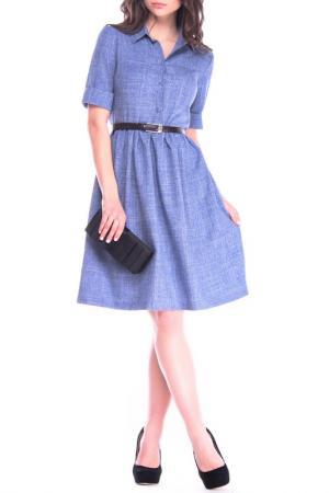 Повседневное платье с поясом Dioni. Цвет: синий
