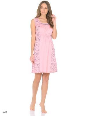 Ночная сорочка HomeLike. Цвет: розовый, серый
