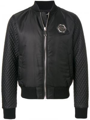 Куртка-бомбер  со стегаными рукавами Philipp Plein. Цвет: чёрный