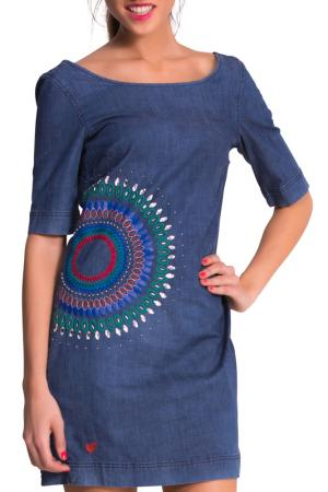 Платье Desigual. Цвет: dark blue, red, green