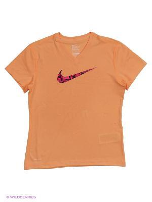 Футболка LEG VNECK SWOOSH FILL TEE YTH Nike. Цвет: оранжевый