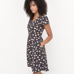Платье с цветочным принтом MADEMOISELLE R. Цвет: рисунок/фон черный