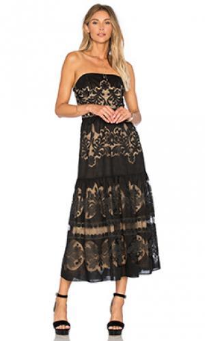 Миди платье с оборкой без бретелек Twelfth Street By Cynthia Vincent. Цвет: черный