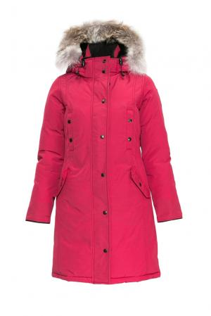 Парка-пуховик с капюшоном и отделкой из меха койота 152304 Arctic Bay. Цвет: красный
