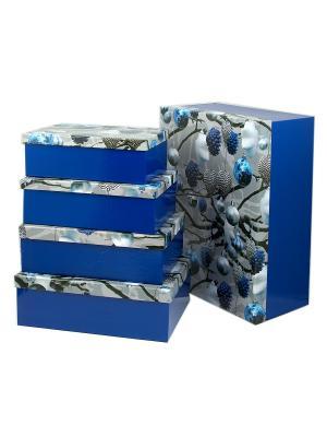 Комплект коробок из 16шт. Серебро Русские подарки. Цвет: синий