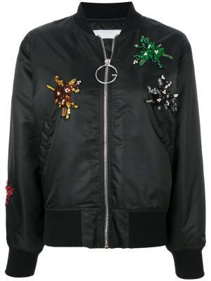 Куртка-бомбер с аппликацией Gaelle Bonheur. Цвет: чёрный