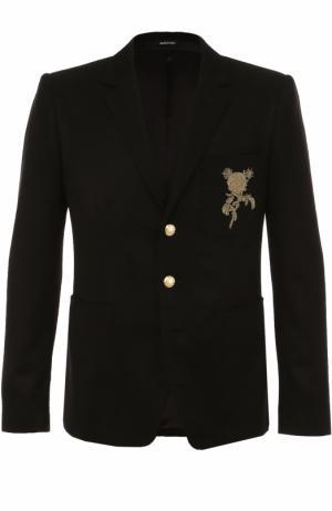 Однобортный кашемировый пиджак с вышивкой Alexander McQueen. Цвет: черный