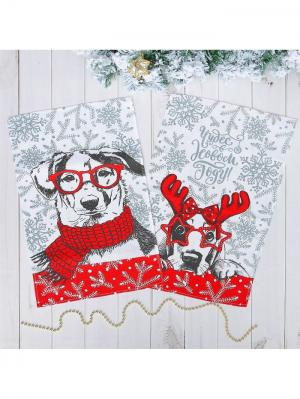 Набор полотенец Новогодняя ярмарка. Цвет: серый, белый, красный