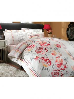 Кпб 2 сп. (Евро) сатин ARABELLA красное HOBBY HOME COLLECTION. Цвет: красный