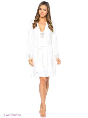 Комплект (халат, сорочка ночная) ASOLINDA. Цвет: молочный