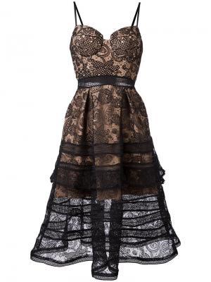 Кружевное платье Self-Portrait. Цвет: чёрный