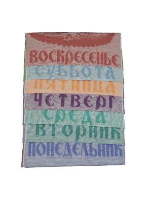 Набор полотенец лен Неделька Римейн. Цвет: голубой, розовый