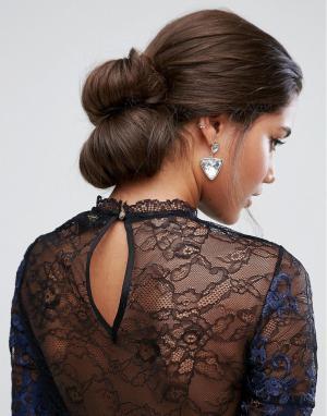 ASOS Двойная заколка-валик для волос в винтажном стиле. Цвет: коричневый