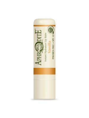 Защитный бальзам для губ с ароматом ванили Aphrodite. Цвет: оливковый