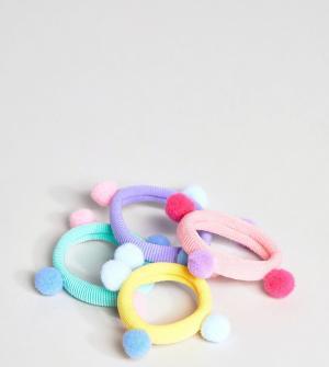 ASOS Набор из 4 резинок для волос с миниатюрными помпонами DESIGN. Цвет: мульти