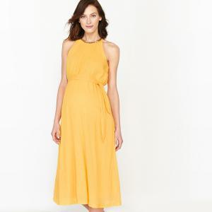 Платье праздничное для периода беременности с блестящими вставками La Redoute Collections. Цвет: желтый,розовый телесный