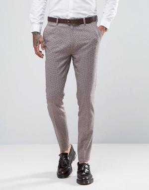 ASOS Розовые брюки скинни из ткани с добавлением шерсти. Цвет: розовый