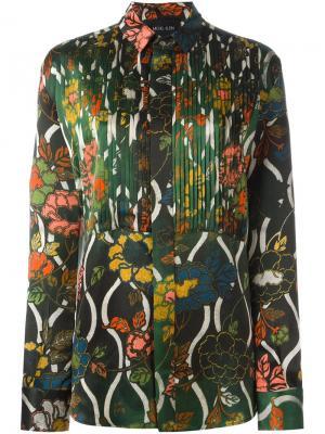 Рубашка с принтом arts nouveau Michel Klein. Цвет: зелёный