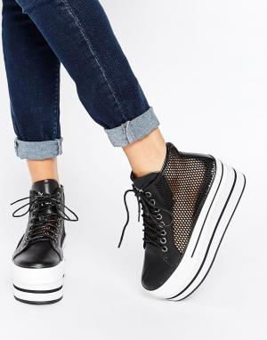YRU Elevation Flatform High Top Trainers. Цвет: черный