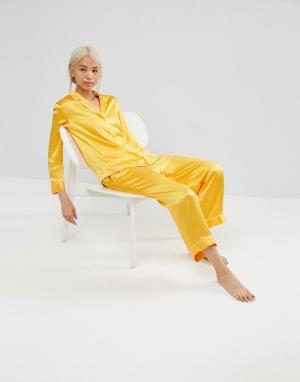 ASOS White Пижама из 100% шелка. Цвет: оранжевый
