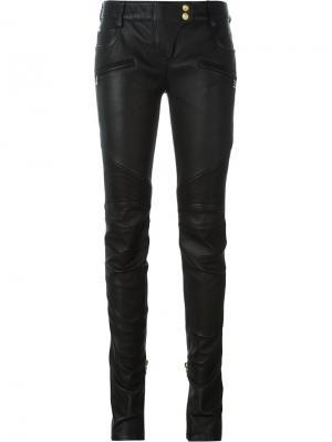 Байкерские джинсы кроя скинни Balmain. Цвет: чёрный