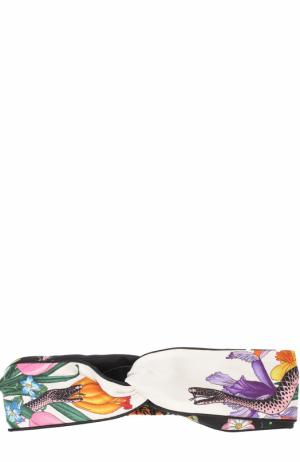 Повязка на голову из смеси шелка и хлопка с принтом Gucci. Цвет: белый
