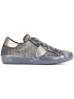 Расшитые пайетками кроссовки Philippe Model. Цвет: серый