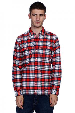 Рубашка в клетку  Flannel Stc/Fred/Navy Dickies. Цвет: красный,белый
