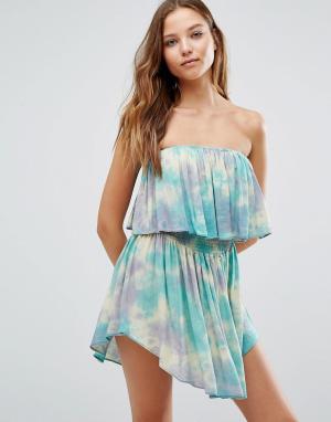 Surf Gypsy Пляжное платье с широким вырезом и принтом тай-дай. Цвет: мульти