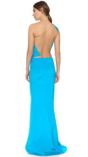 Вечернее платье с открытым плечом KAUFMANFRANCO. Цвет: бирюзовый