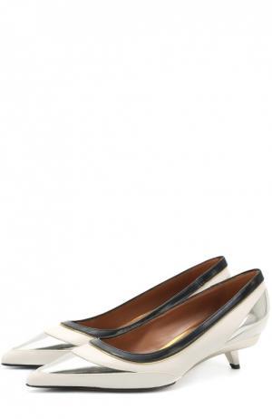 Кожаные туфли на фигурном каблуке Marni. Цвет: белый