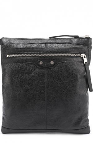 Кожаная сумка-планшет с внешним карманом на молнии Balenciaga. Цвет: черный