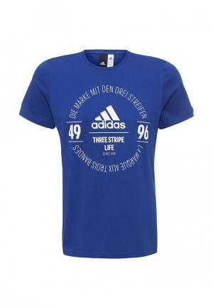 Футболка adidas Performance. Цвет: синий