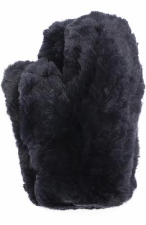 Варежки из меха кролика Yves Salomon. Цвет: темно-синий