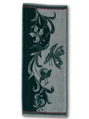 Полотенце махровое пестротканое жаккардовое 30x80см Весна Авангард. Цвет: зеленый