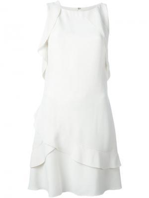 Многослойное платье с рюшами Proenza Schouler. Цвет: белый