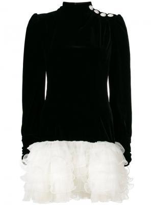 Платье с длинными рукавами и оборками Alessandra Rich. Цвет: чёрный