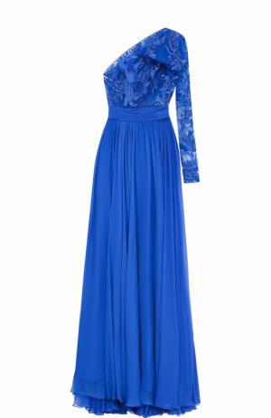 Платье-макси с открытым плечом и вышивкой Zuhair Murad. Цвет: синий