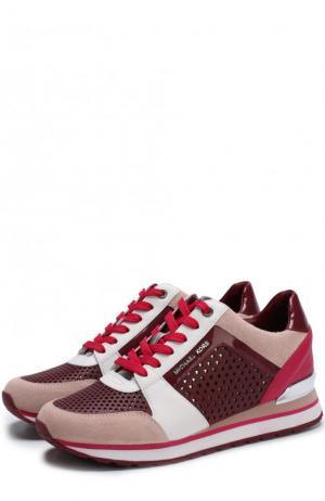Комбинированные кроссовки Billie на шнуровке MICHAEL Kors. Цвет: розовый
