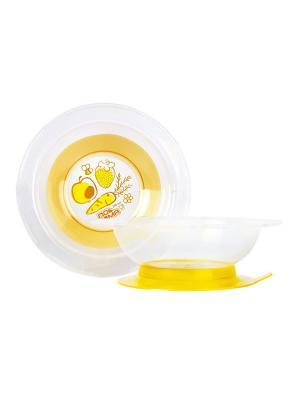 Детская большая тарелочка 240 мл на присоске 1 шт. (ПП, термопластичная резина) 6+ ПОМА. Цвет: желтый, прозрачный