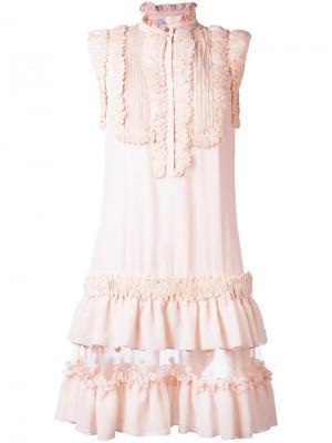 Платье с рюшами Zuhair Murad. Цвет: розовый и фиолетовый