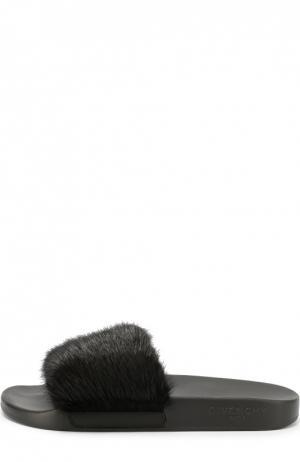 Шлепанцы с отделкой из меха норки Givenchy. Цвет: черный
