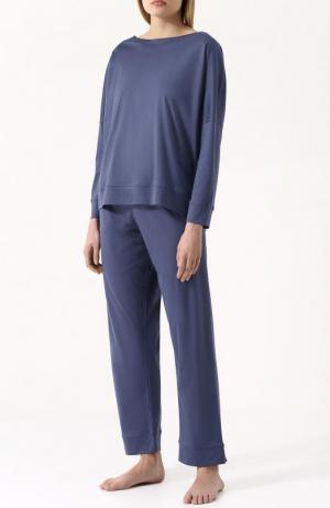 Однотонная хлопковая пижама Zimmerli. Цвет: синий