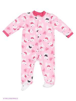 Комбинезон для сна флисовый Собачки Little Me. Цвет: розовый