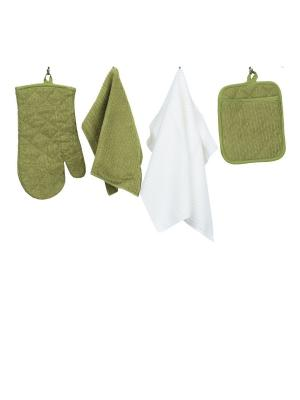 Набор кухонных принадлежностей из микрофибры: прихватка, рукавица, салфетка полотенце ТекСтиль для дома. Цвет: зеленый, белый