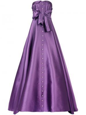 Платье на пуговицах без бретелек Alexis Mabille. Цвет: розовый и фиолетовый