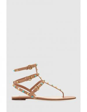 Кожаные сандалии Rockstud Rolling Valentino. Цвет: бежевый